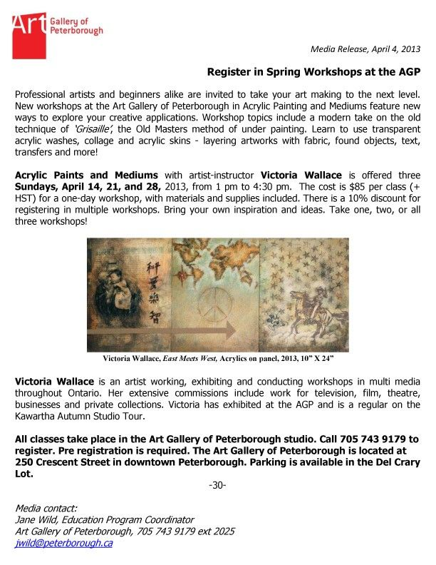 Spring Acrylic Workshops at the Art Gallery of Peterborough