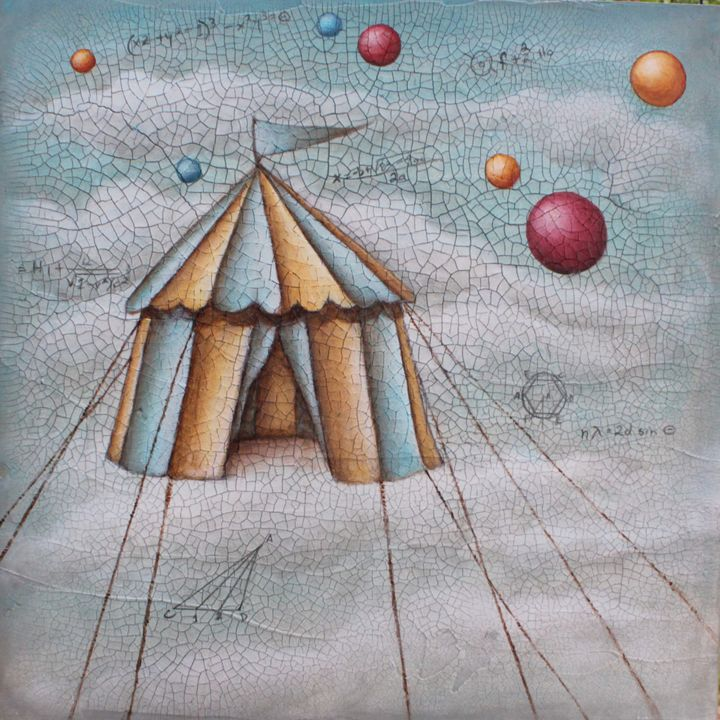 Past Tents - Painting,  16x16x1.5 in ©2016 by Victoria Wallace -                                                                        Conceptual Art, Surrealism, Wood, Fantasy, tents, clouds, mathematics, floating
