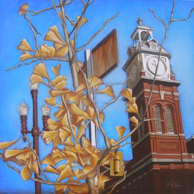 Market Hall Fall - Painting,  24x24 in, ©2009 by Victoria Wallace -