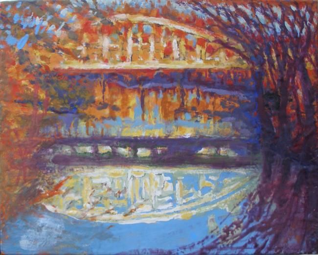 Pottery Bridge over the Don - Painting,  16x20 in ©2010 by Victoria Wallace -