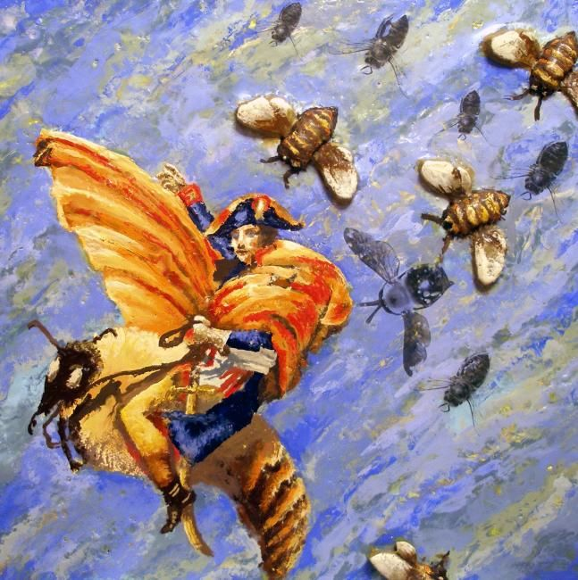Napoleon's Bees - Painting,  24x24 in, ©2010 by Victoria Wallace -