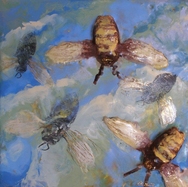 Napoleon's Bees I - Painting,  8x8 in ©2010 by Victoria Wallace -