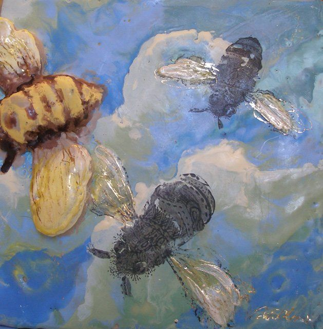 Napoleon's Bees II - Painting,  8x8 in, ©2010 by Victoria Wallace -