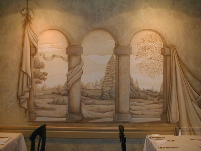 Avenue Rd and Eglinton W Restaurant Murals - Painting ©1996 by Victoria Wallace -