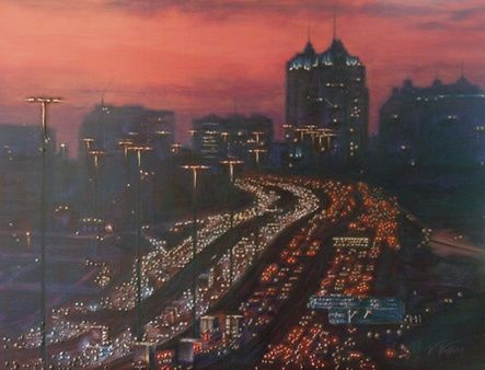 Rush Hour - Painting,  30x40 in, ©2010 by Victoria Wallace -                                                              Rush Hour Painting in Acrylic