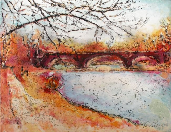 The Old Mill Bridge - Painting,  11x14 in ©2010 by Victoria Wallace -            Pictures of Victoria Wallace Artwork