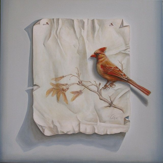 Liberated Cardinal - Painting,  30x30 in, ©2011 by Victoria Wallace -                                                              Female Cardinal