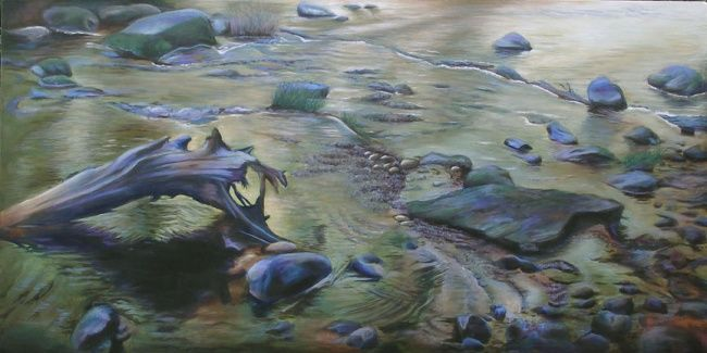 Jackson Creek - Painting,  48x24 in ©2011 by Victoria Wallace -                            Water, Jackson Creek - acrylic by Victoria Wallace