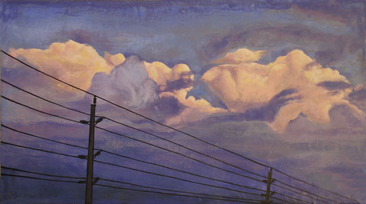 Yvening Sky - Painting,  43x24 in ©2012 by Victoria Wallace -            Encaustic Sky
