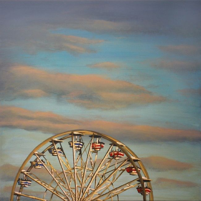 Pregnant Pause - Painting,  24x24 in, ©2012 by Victoria Wallace -                                                              Ferris Wheel at the Ex