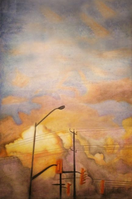 The Crash - Painting,  36x24 in, ©2012 by Victoria Wallace -                                                              Encaustic Sky