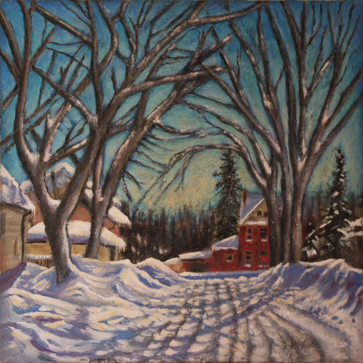 Almost Home - Painting,  16x16 in ©2013 by Victoria Wallace -            Encaustic Winter Landscape