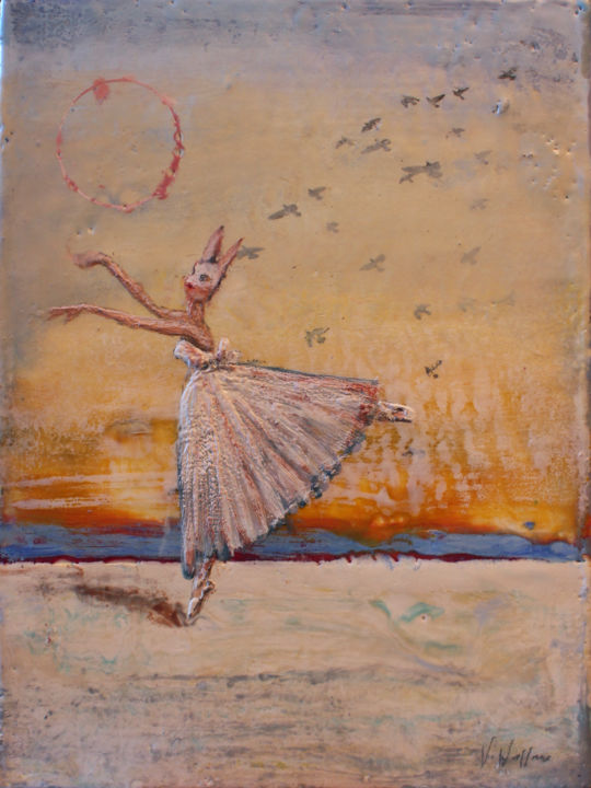 Dusk Dance I - Painting,  12x9 in ©2014 by Victoria Wallace -                                            Surrealism, Wood, Encaustic, Victoria Wallace, circus, surrealism, carnival, commedie del arte