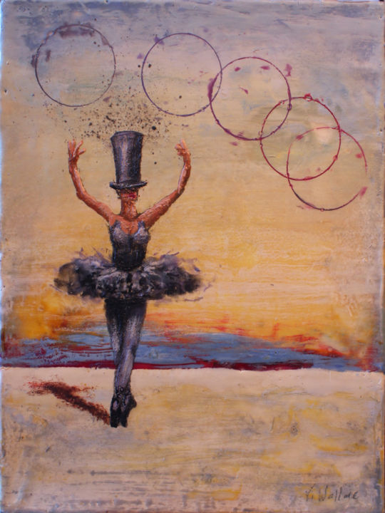 Dusk Dance II - ©  Encaustic, Victoria Wallace, Surrealism, Carnival, Circus, fairground, dance Online Artworks