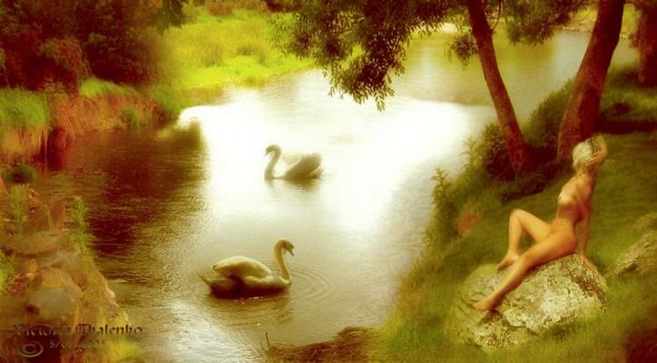 """Swan lake"" - Digital Arts,  21x30 cm ©2006 by Vita -            swan, lake, beauty, woman, nakeed, nature and women"