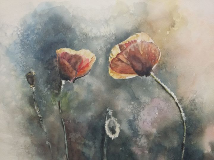"""Painting titled """"Poppies in the suns…"""" by Victoria Zavyalova, Original Art, Watercolor"""