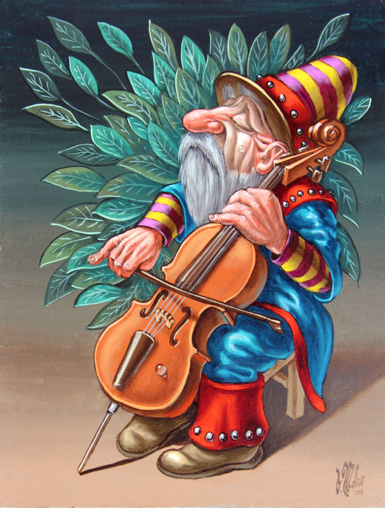 Cellist - Painting,  13x9.8x0.1 in, ©2018 by Victor Molev -                                                                                                                                                                                                                                                                                                                                                                                                                                                      Figurative, figurative-594, Dark-Fantasy, Music, Cartoon, Fairytales, Humor, Dwarf, Fantasy