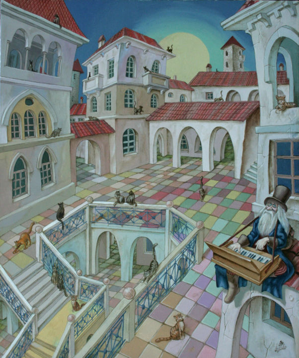 Ballad of Twilight Cats - artwork_cat.Painting,  23,6x19,7x0,8 in ©2005 by Victor Molev -                                                                                                                artwork_cat.Figurative Art, artwork_cat.Symbolism, artwork_cat.Contemporary, artwork_cat.Architecture, artwork_cat.Cityscape, artwork_cat.Animals, artwork_cat.Cats, artwork_cat.Music