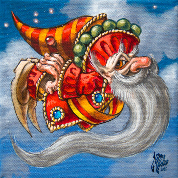 """""""Flying to the East"""" - Painting,  5.9x5.9x0.8 in, ©2020 by Victor Molev -                                                                                                                                                                                                                                                                                                                                                                                                          Illustration, illustration-600, Cartoon, Fairytales, Fantasy, Humor, Men, Gnome"""