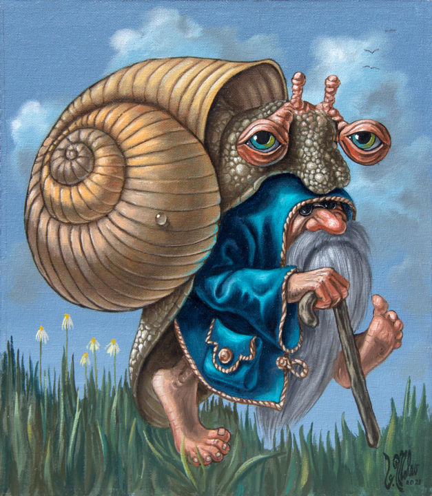 """Painting titled """"Guiding Snail"""" by Victor Molev, Original Art, Oil"""