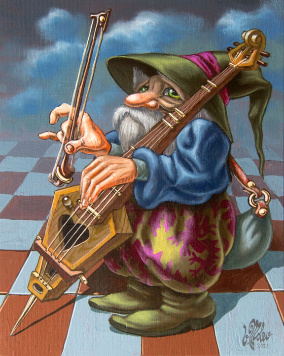 """Painting titled """"Old Musician. Op.#3…"""" by Victor Molev, Original Art, Oil Mounted on Stretcher frame"""