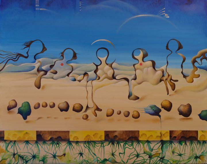 Painting, oil, surrealism, artwork by Victor X