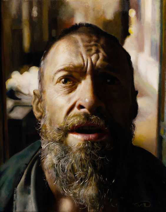Light & Shadow - Painting,  14x11x0.7 in, ©2018 by Victoria Yu -                                                                                                                                                                                                                                                                                                                                                                                                                                                                                                                                                                                                                                                                                                                                                                          Figurative, figurative-594, Interiors, Light, Men, People, Portraits, portrait, Photorealism, man, renaissance, figurative, beard, hyperrealism, jan valjean, classical