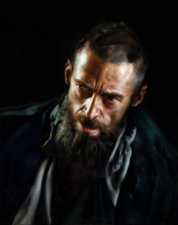Light and Shadow 2 - Confound - Painting,  20x16x0.7 in, ©2019 by Victoria Yu -                                                                                                                                                                                                                                                                                                                                                                                                                                                                                                                                                                                                                                                                                                                                                                                                                      Figurative, figurative-594, Cinema, Light, Men, People, Portraits, portrait, man, homme, barbe, beard, photorealism, classical, renaissance, hyperrealism, portraiture
