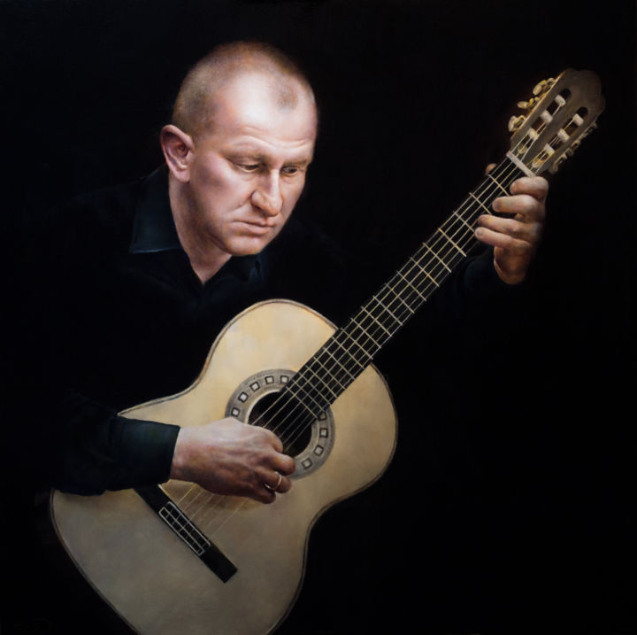 If You Listen You'll Hear It - The Polish Guitarist - Painting,  36x36x1.5 in, ©2019 by Victoria Yu -                                                                                                                                                                                                                                                                                                                                                                                                                                                                                                                                                                                                                                                                                                                                                                                                                                                                                                                                                                                                      Figurative, figurative-594, Music, Nature, People, artwork_cat.Performing Arts, Portraits, guitarist, musician, guitar, portrait, realism, music, polish, artist, composer, hypperealism, photorealistic, figurative, classical, renaissance