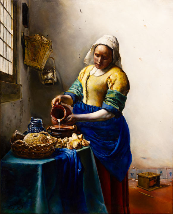 The Milkmaid - Johannes Vermeer (Master copy) - Painting,  20x16x0.7 in, ©2017 by Victoria Yu -                                                                                                                                                                                                                                                                                                                                                                                                                                                                                                                                                                                                                                                                                                                                                                                                                                                                                                              Figurative, figurative-594, Body, Culture, People, Portraits, Women, vermeer, Johaness vermeer, dutch, painting, golden age, master copy, realism, figurative, milkmaid, holland, portrait, classical