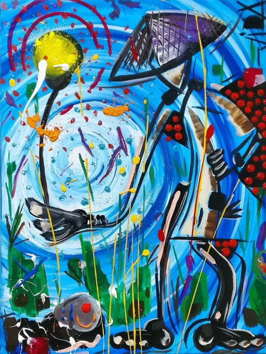 Humorfosis 2 - Painting,  31.5x23.6x0.8 in, ©2018 by Vida -                                                                                                                                                                                                                                                                                                                                                                                                                                                      Expressionism, expressionism-591, Rural life, Love / Romance, Abstract Art, blue, orient, love, abstract