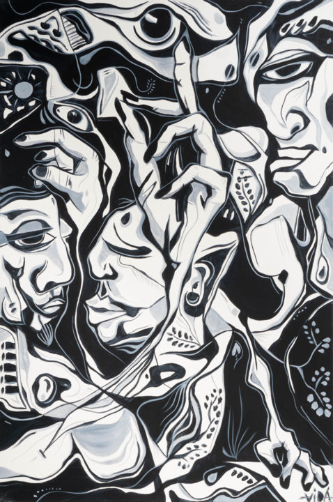 Tribo I - Painting,  47.2x31.5x0.8 in, ©2019 by Vida -                                                                                                                                                                                                                                                                                                                                                                                                                                                                                                                                                                                                                                                                                                                                                                                                                                                                                                                                                                                                                                                                                                                                                                                                                                                                              Abstract, abstract-570, Love / Romance, Spirituality, Women, Nature, Nude, love, romance, black and white, nature, abstract, animal, woman, man, kiss, family, nude, people, tree, travel, spirit, spirituality, black, white, body, cosmo