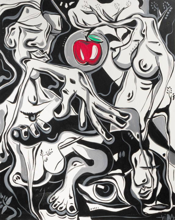 """Pecado """" Tribo II """" - Painting,  39.4x31.5x0.8 in, ©2019 by Vida -                                                                                                                                                                                                                                                                                                                                                                                                                                                                                                                                                                                                                                                                                                                                                                                                                                                                                                                                                                                                          Abstract, abstract-570, Cotton, Canvas, Rural life, Agriculture, Love / Romance, Angels, Abstract Art, love, romance, history, woman, man, fruit, apple, erotic, black and white, family, time, travel"""