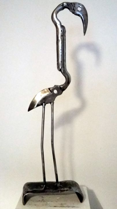 LE FLAMAND ROSE DE CAMARGUE - Sculpture,  51x16x6 cm ©2017 by Gerard LAMI -                                        Art Deco, Metal