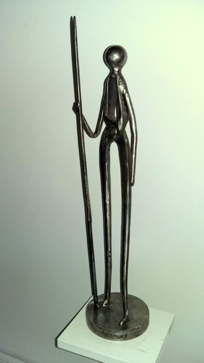 GARDIEN DE LA TERRE /3 - Sculpture,  22.4x5.1x0.8 in, ©2018 by Gerard LAMI -                                                                                                                                                                                                                                                                          Figurative, figurative-594, Metal, Culture, sculpture métal