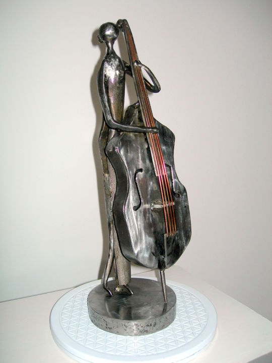 LA CONTREBASSE DANS LE JAZZ - Sculpture,  43x13.5 cm ©2014 by Gerard LAMI -                                                        Figurative Art, Metal, Pop Culture / celebrity