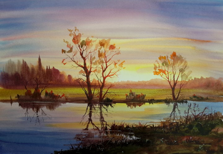 """Painting titled """"Evening on the river"""" by Viktor Kovalev, Original Art, Watercolor"""