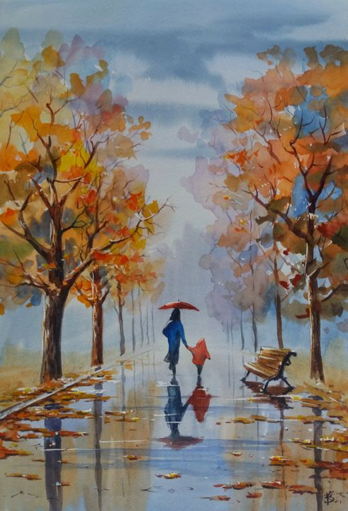 """Painting titled """"Autumn alley"""" by Viktor Kovalev, Original Art, Watercolor"""