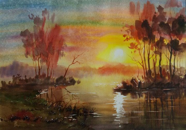 """Painting titled """"Sunset over the Lake"""" by Viktor Kovalev, Original Art, Watercolor"""