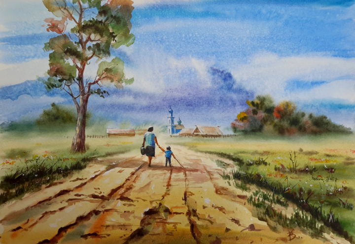 """Painting titled """"Country road"""" by Viktor Kovalev, Original Art, Watercolor"""