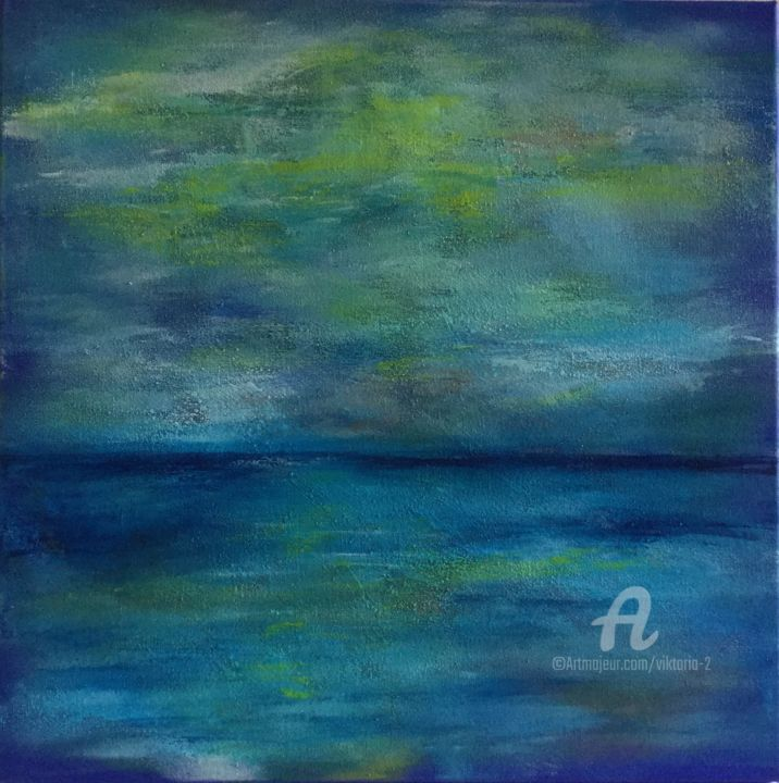 Viewpoints - © 2019 Abstract, Seascape, Landscape, Blue, Green, Yellow, Original, Acrylic Painting Online Artworks