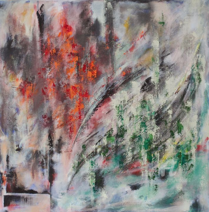 Something Forgotten - © 2019 Abstract Painting, Square Painting, Orange and green, Original, Contemporary, Abstraction Online Artworks