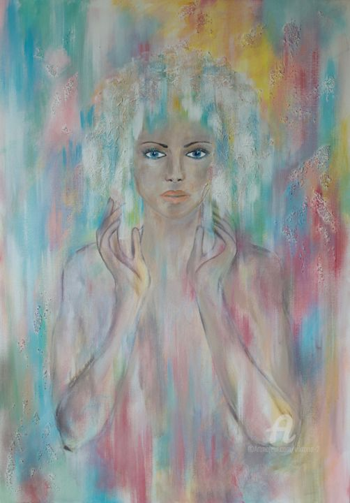 portrait - Painting,  100x70x2.5 cm ©2019 by Viktoria Ganhao -                                                                                Abstract Art, Contemporary painting, Figurative Art, Portraiture, People, abstract, portrait, girl, colorful, home decor