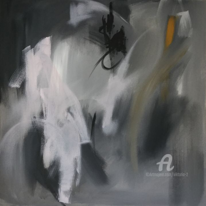 15-07-19 Abstraction - Painting,  80x80x2 cm ©2019 by Viktoria Ganhao -                                                                                            Abstract Art, Abstract Expressionism, Contemporary painting, Minimalism, Abstract Art, Landscape, abstraction, contemporary, home decor, black, minimalism, portrait