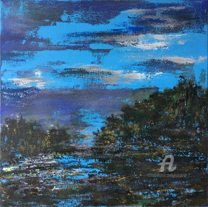 Abstract Landscape 20-07-19 - Painting,  40x40x2 cm ©2019 by Viktoria Ganhao -                                                                    Abstract Art, Contemporary painting, Impressionism, Landscape, Landscape, Small painting, acrylic on canvas, original art, fine art