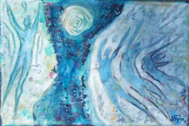 """Painting titled """"Holy fire"""" by Villy Fyhn, Original Art,"""