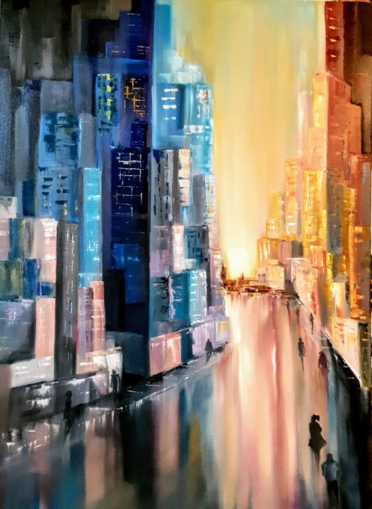 """Painting titled """"the city is waking…"""" by Галина Шумилова, Original Art, Oil Mounted on Stretcher frame"""