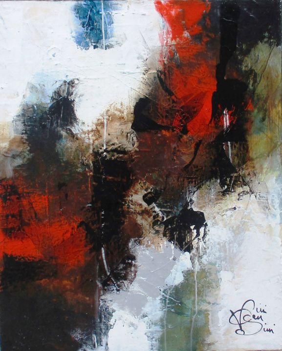 """Painting titled """"Eclat"""" by Francis Vincensini, Original Art, Oil Mounted on Stretcher frame"""