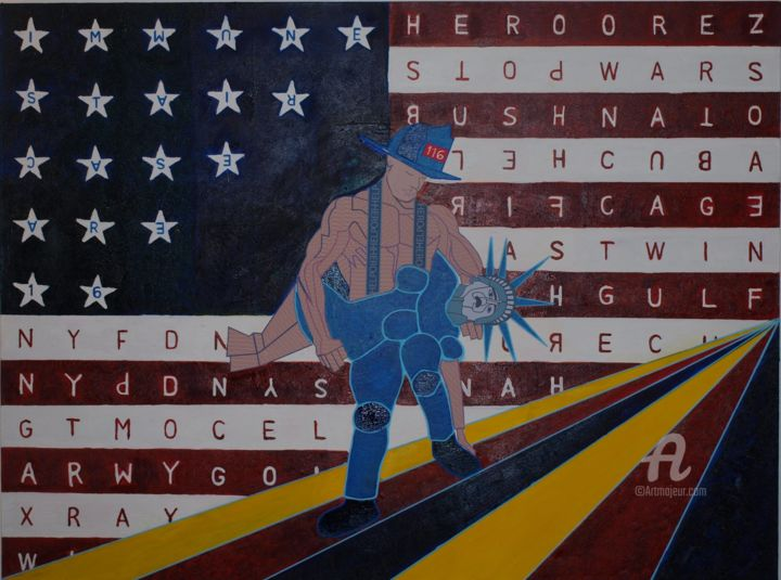 """Painting titled """"War on Terror: Libe…"""" by Vincent Artist, Original Art, Oil"""