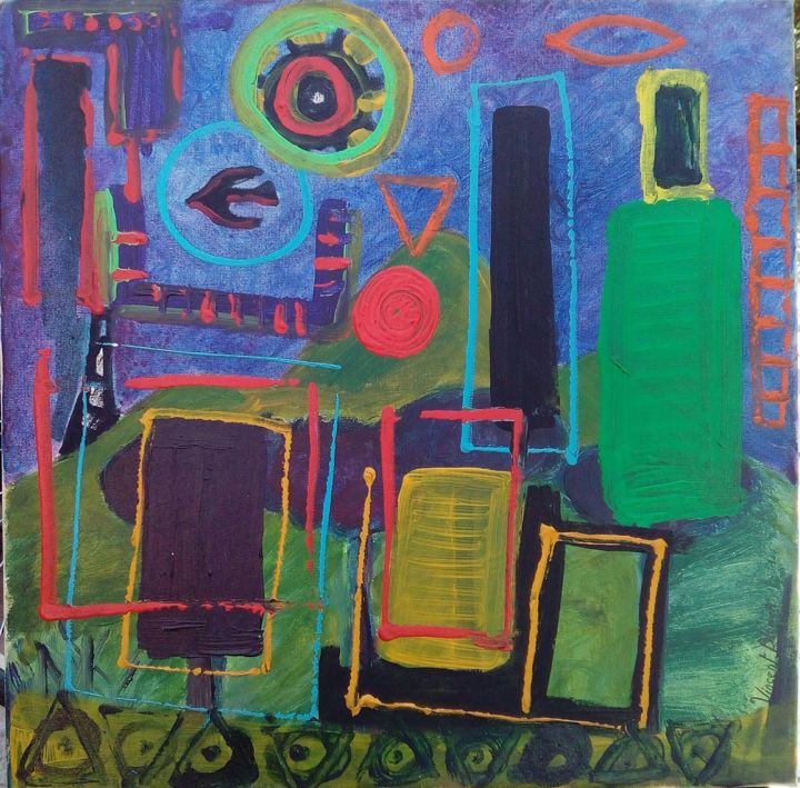 """Painting titled """"Object in the sky"""" by Vincent Blümer, Original Art, Acrylic"""